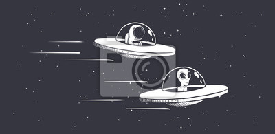 Posters astronaute de compétition et des extraterrestres sur des soucoupes volantes dans l'espace. Illustration vectorielle