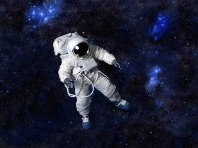 Posters Astronaute flottant dans l'espace sombre.