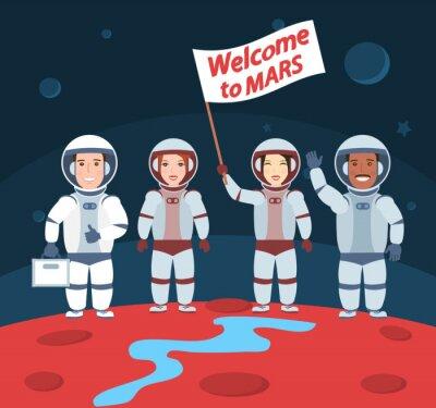 Posters Astronautes sur mars. Bienvenue au groupe mars.international avec drapeau