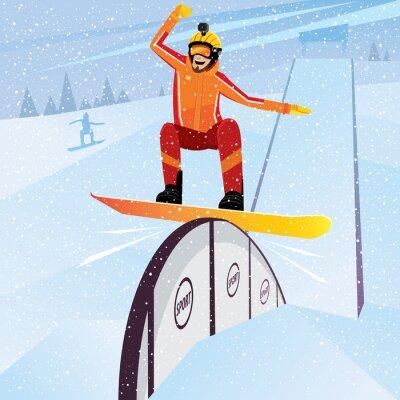Posters Athlète extrême descend de la montagne sur un snowboard