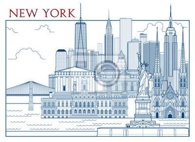 Attractions de New York. Illustration vectorielle dessinée à la main. Tous les bâtiments - différents objets personnalisables avec remplissage d'arrière-plan