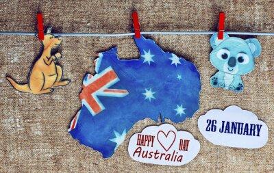 Posters Australie, jour, concept, -, salutation, écrit, travers, blanc, Australien, cartes, kangourous, koala, Tonique. effet de la lumière du soleil