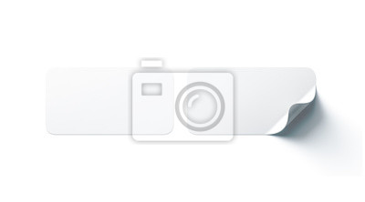Posters Autocollants adhésifs de rectangle blanc blanc simulés avec un coin incurvé, rendu 3d. Maquette d'étiquette collante oblongue vide avec curl. Gabarit d'étiquette adhérent clair pour porte ou mur en ve