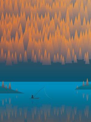 Posters Automne paysage vecteur de fond avec des arbres feuillage et un lac. Pêcheur, pêche, sien, bateau
