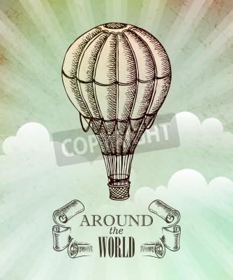 Posters Aventure aéronautique. Vecteur, vendange, Illustration, ballon, EPS, 10