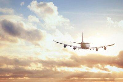 Posters avion dans ciel coucher de soleil