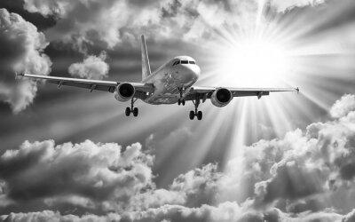 Posters Avion, décoller, pistes, contre, beau, nuageux s