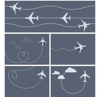 Posters Avion vol - trace en pointillé de l'avion, en forme de cœur et lo
