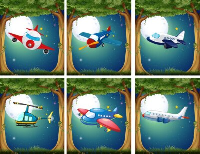 Posters Avions, copters, voler, nuit