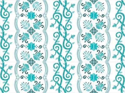 Posters Azulejos traditionnels portugais et brésiliens carrelés aux couleurs turquoises. Modèle vintage. Résumé fond. Vector illustration, eps10.