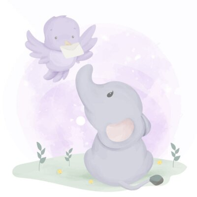 Posters Baby Elephant Get Mail From Bird