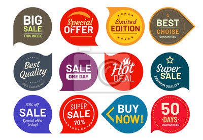 Posters Badges de qualité de vente. Insigne d'étiquette cent pour cent assuré. Set d'icônes autocollant vector illustration