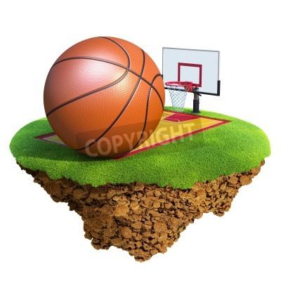Posters balle de basket-ball, panneau, cerceau et judiciaire fondée sur petite planète. Concept pour l'équipe de basket-ball ou de la conception de la concurrence. Petite île / collection planète.