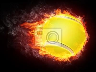 Balle de tennis en feu