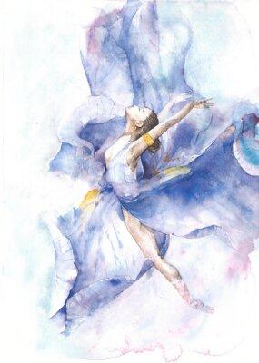 Posters Ballerine, danse, aquarelle, peinture, isolé, blanc, fond