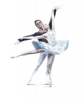 Posters Ballet dancers swan lake ballet ballerina in white tutu watercolor painting illustration isolated on white background