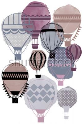 Posters Ballons à air aquarelle vecteur