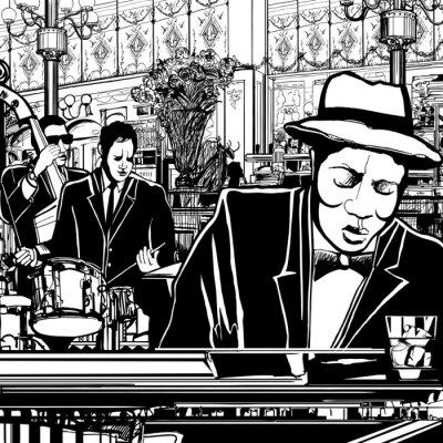 Posters bande de piano Jazz dans un restaurant