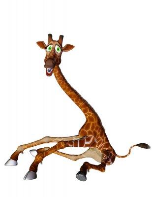 Posters bande dessinée de girafe côté des jambes ouvertes