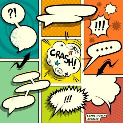 Posters Bandes dessinées Speech Bubbles. Un ensemble de comique éléments de conception de livre coloré et rétro avec des bulles! Vector illustration.