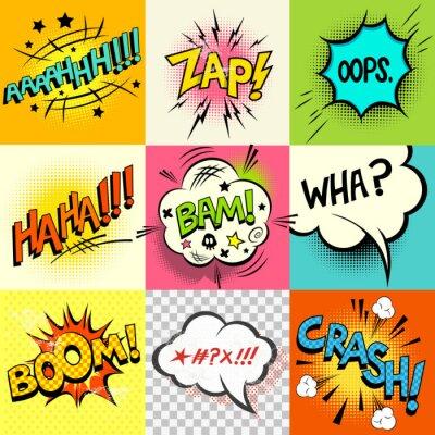 Posters Bandes expressions réserver! Un ensemble de bulles de bandes dessinées du livre et des mots d'expression. Vector illustration