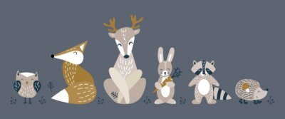 Posters Banner with cute woodland animals in scandinavian style. Set of nice characters on dark background. Flat vector illustartion.