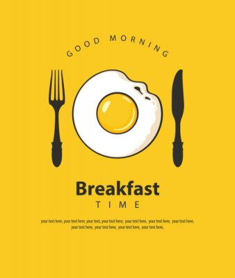 Posters Bannière de vecteur sur le thème de l'heure du petit déjeuner avec oeuf au plat, fourchette et couteau sur le fond jaune avec la place pour le texte dans un style rétro