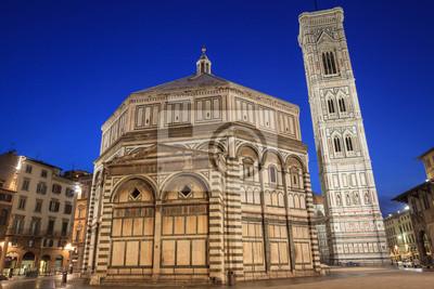 Baptistère et Giotto Belltower dans la nuit, Florence, Italie