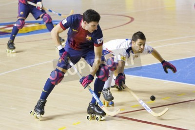 Posters BARCELONA - JANUARY 26: Sergi Miras of FCB in action at Spanish OK League match between FC Barcelona and Igualada HC, final score 4-5, on January 26, 2013, in Palau Blaugrana, Barcelona, Spain