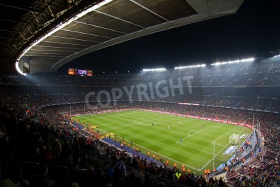 Posters BARCELONA, SPAIN - DECEMBER 13, 2010: Panoramic view of the Camp Nou, the stadium of Football Club Barcelona team, before the match FC Barcelona - Real Sociedad, final score 5 - 0.