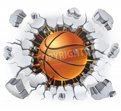 Posters Basketball and Old Plaster wall damage   illustration
