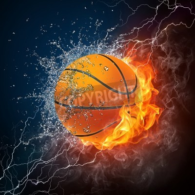 Posters Basketball Ball on Fire and Water. 2D Graphics. Computer Design.
