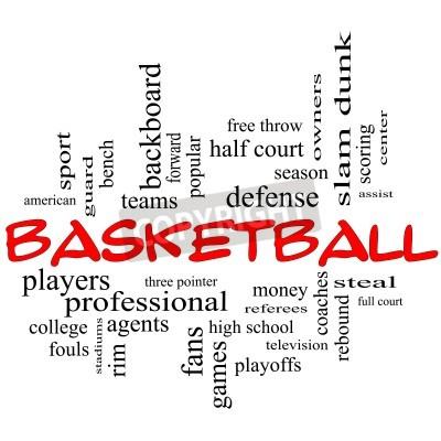 Posters Basketball Word Cloud Concept en majuscules rouges avec de grands termes tels que: garde, voler, rebondir, slam dunk, centre, aider, jeux et plus encore.