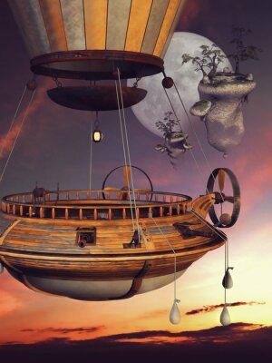 Posters Baśniowy balon na tle księżyca i latających WYSP