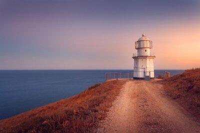 Posters Beau, blanc, phare, océan, littoral, Coucher soleil Lan
