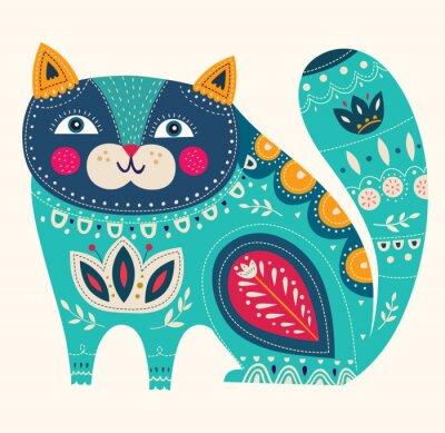 Posters Beau, décoratif, vecteur, chat, bleu, couleur