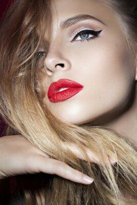 Posters Beau, girl, rouges, lèvres, main, devant, figure