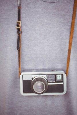 Posters Beau, hipster, tenue, rétro, appareil-photo