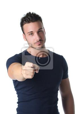 Beau Jeune Homme beau jeune homme pointant le doigt à vous affiches murales • posters