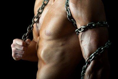 Posters Beau mec musclé et avec la chaîne
