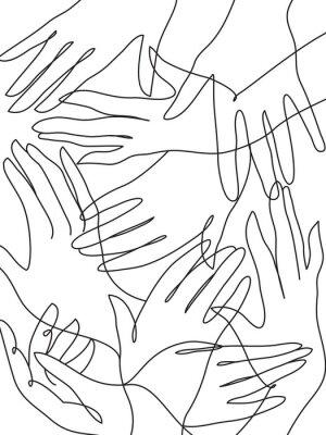 Posters Beaucoup de mains dessin au trait