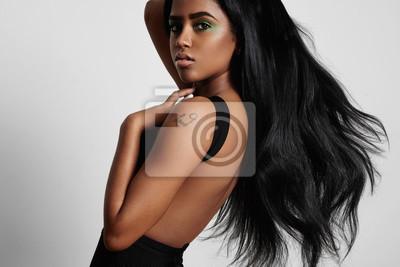Posters Beauté, noir, femme, côté, souffler, cheveux