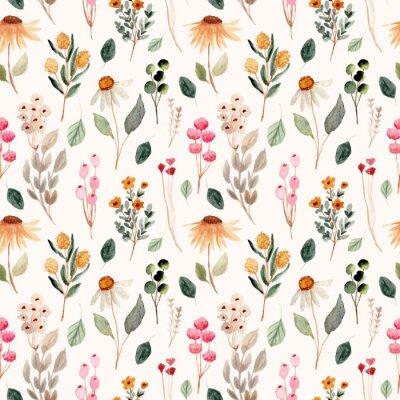 Posters beautiful flower meadow watercolor seamless pattern