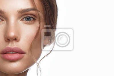 Posters Beautiful fresh girl with perfect skin, natural make-up. Beauty face.