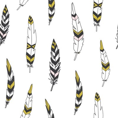 Posters Beautiful indian seamless pattern with feathers in vector.