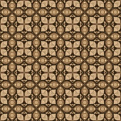 Posters Beautiful java batik floral pattern with seamless brown color design