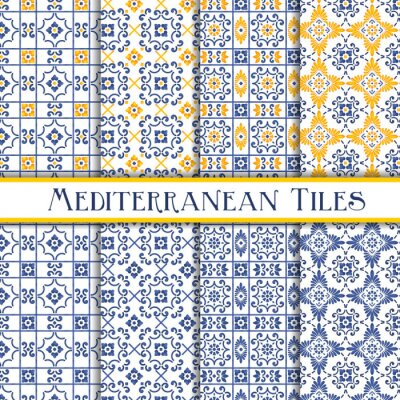 Posters Beautiful painted mediterranean traditional tiles