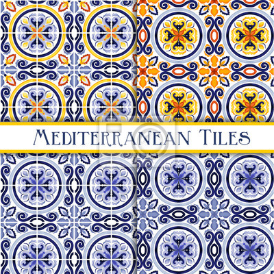 Posters Beautiful painted sicilian traditional tiles