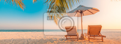 Posters Beautiful tropical beach banner. White sand and coco palms travel tourism wide panorama background concept. Amazing beach landscape