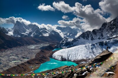 Posters Beautiful turquoise lake high in the mountains. Nepal, Everest National Park. View from the Gokyo Peak (5,357 m).